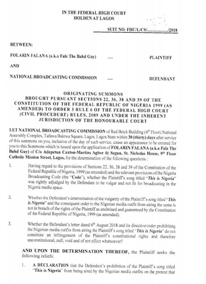 """Falz files court papers challenging the ban placed on his song """"This is Nigeria"""" by NBC"""