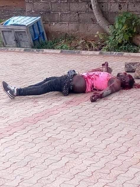 Graphic photo of 400L BSU student shot and hacked to death by cultists in retaliatory killing