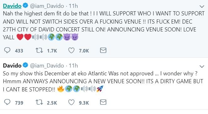 Davido suggests that Eko Atlantic was not approved as the venue for his December concert because he supports PDP