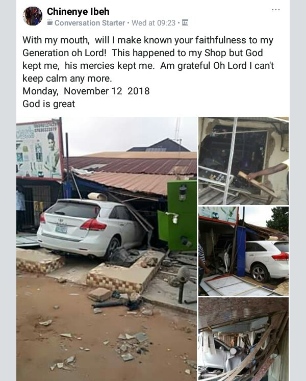 Photos: Young lady escapes death as car rams into her shop in Anambra