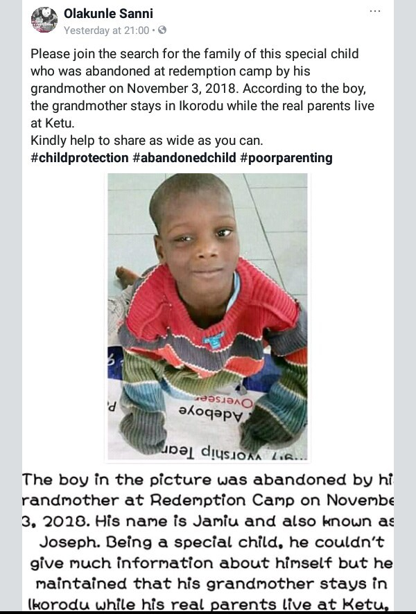 Photo: Special-needs child abandoned at RCCG Redemption Camp by his grandmother