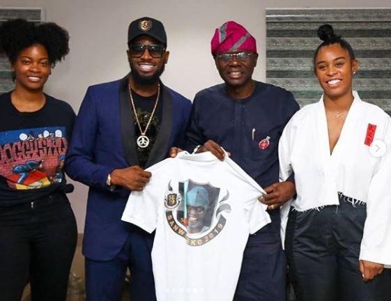 Photos:??Dbanj and US R&B star, Ari Lennox visit Babjide Sanwo-Olu