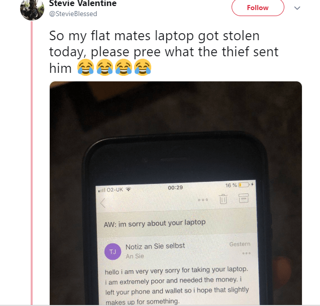 See the viral mail a thief sent a University student after he stole his Laptop?