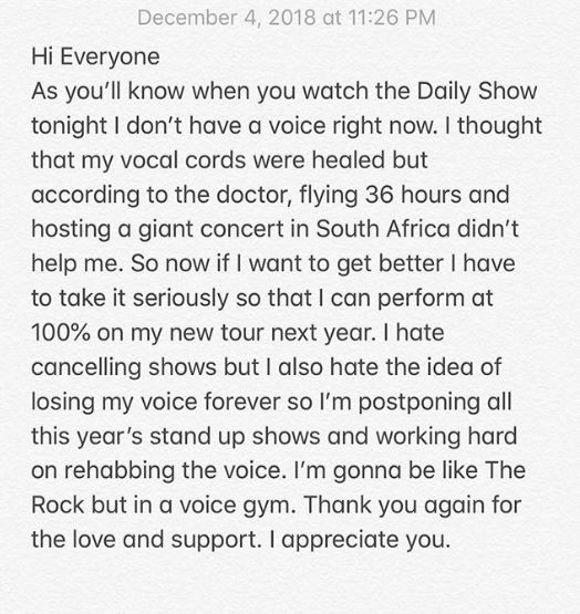 Like Tekno, Trevor Noah also cancels all his stand up shows this year over his damaged vocal cords