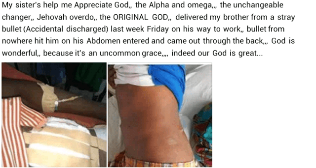 Photos: Man survives after being hit by stray bullet on his way to work in Lagos