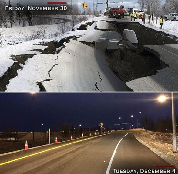 Impressive: In 5-days, US government repairs a major road destroyed by a?7.0-magnitude earthquake (Photo)