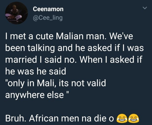 Lady recounts hilarious exchange she had with a married African man