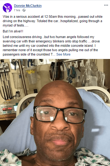 Photo: Gospel artiste, Donnie McClurkin, involved in a ghastly motor accident