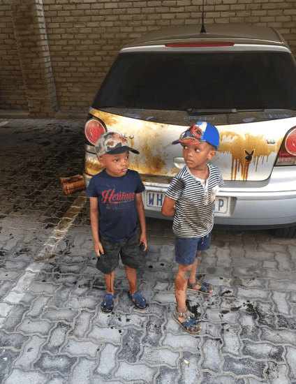 Father shares the havoc his helpful young sons wreaked when they tried to wash his car with engine oil