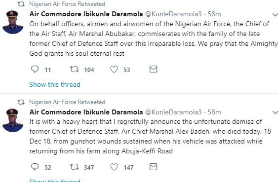Breaking: Former Chief of Defence Staff, Alex Badeh, shot dead by unknown gunmen