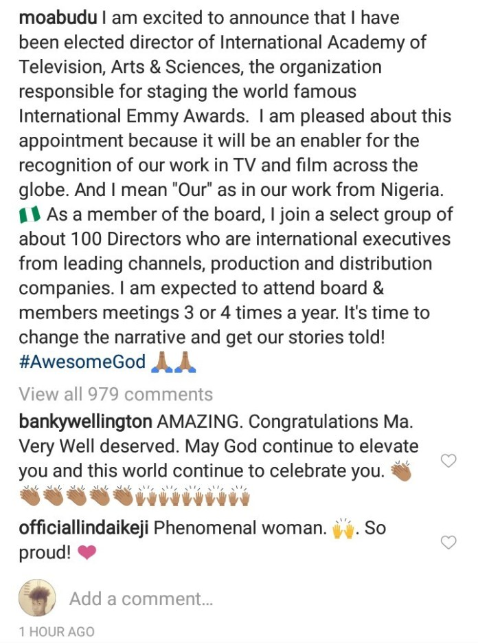 Mo Abudu is elected Director of International Academy of Television, Arts & Sciences... Read her plans for Nigeria