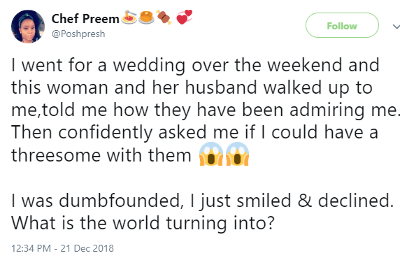 Lady reveals the shocking thing a couple she met at a wedding told her