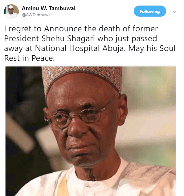 Breaking: Former President, Alhaji Shehu Shagari dies at 93