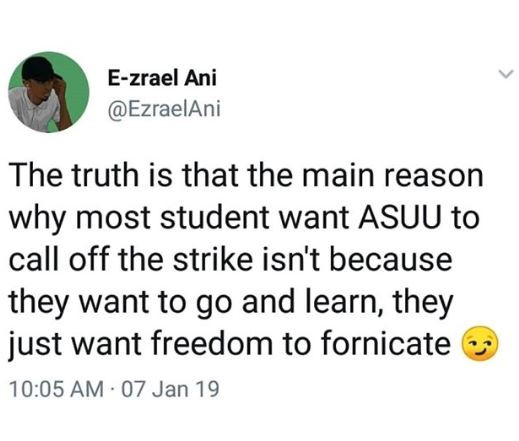 Twitter user reveals the   ASUU STRIKE TO END FOREVER!! NIGERIAN STUDENTS REJOICE AS FINAL END OF ASUU STRIKE IS NEAR – SEE DETAILS 5c350d5ba70a9