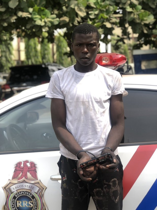 Photo: RRS arrests man after the phone he snatched from a lady inside a commercial bus was found in his pant