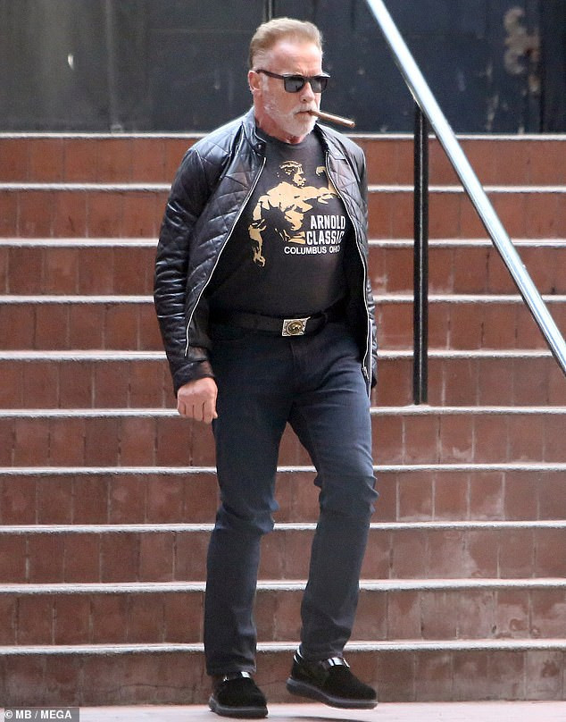 Veteran actor, Arnold Schwarzenegger steps out in style in LA (Photos)