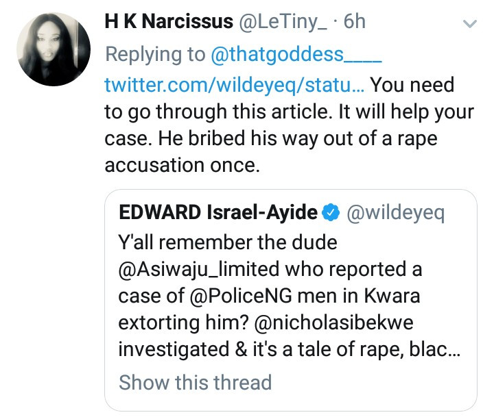 Alleged serial rapist, Asiwaju, has been arrested before for blackmail and rape and his mother has allegedly been dead a long time ago