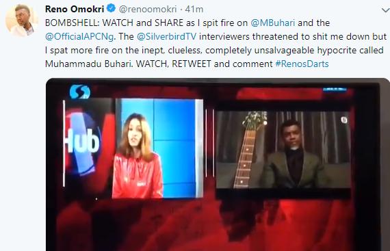 Video: Silverbird TV threaten to cut off Reno Omokri for attacking President Buhari on Live TV