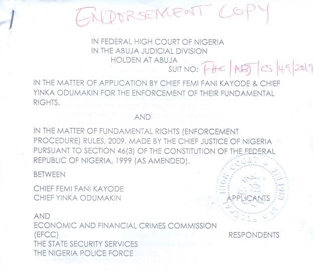 Breaking:?Fani-Kayode, Yinka Odumakin sue EFCC, SS and Nigerian Police for N20m