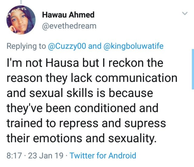 """""""Hausa women have nothing to offer in relationships and they"""