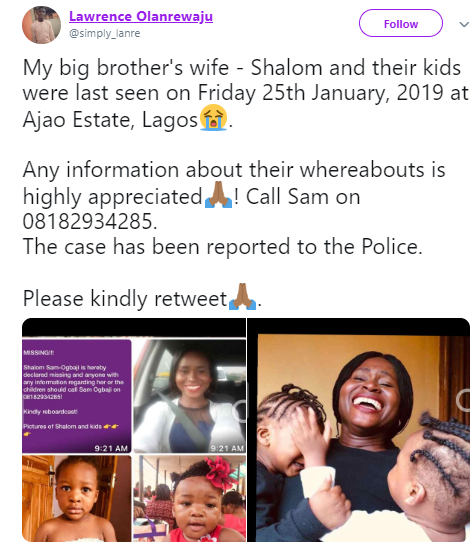 Nigerian mum and her two kids declared missing in Lagos (photos)