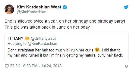 Kim Kardashian straightens her daughter