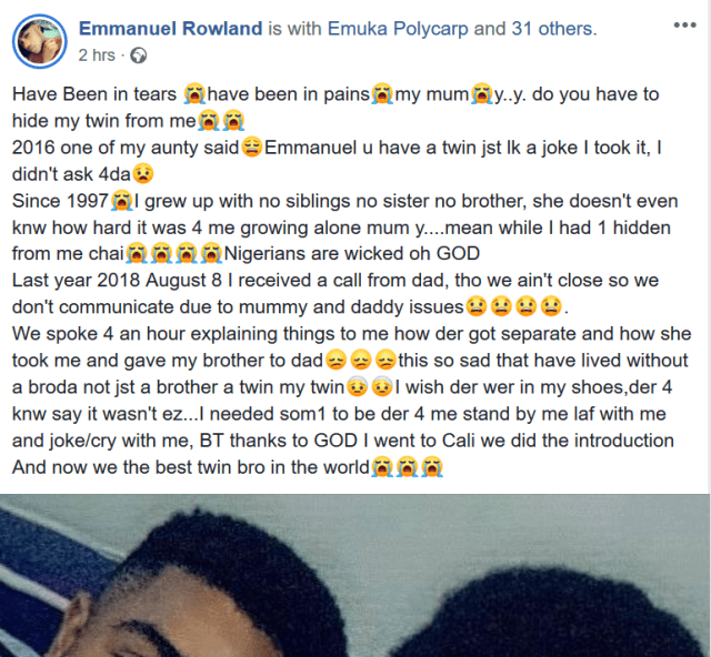 Nigerian man calls out his parents after finding out he has a twin brother who was seperated from him 21years ago