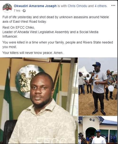 Photo: PDP executive shot dead by unknown gunmen while returning from rally in Rivers