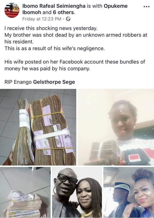 Photos: Bayelsa man killed by armed robbers hours after his wife allegedly flaunted bundles of Naira notes on social media