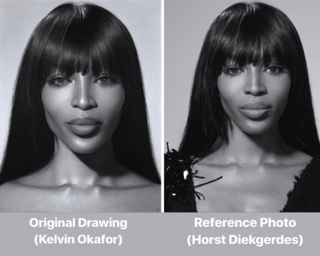 Can you tell which is the real photo of Naomi Campbell and which is a drawing?