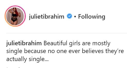 'Beautiful girls are mostly single because no one ever believes they're actually single' - Actress Juliet Ibrahim