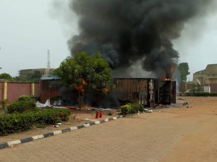 Fire guts containers carrying card readers for Saturday