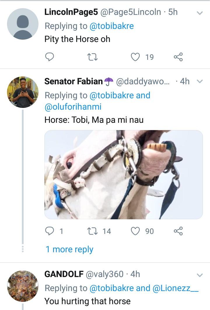 Nigerians accuse Tobi Bakre of animal cruelty after he held a horse