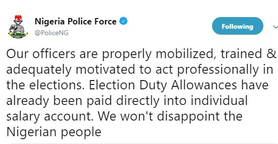 #NigeriaDecides: Election duty allowances have already been paid directly into individual salary accounts - Nigerian Police