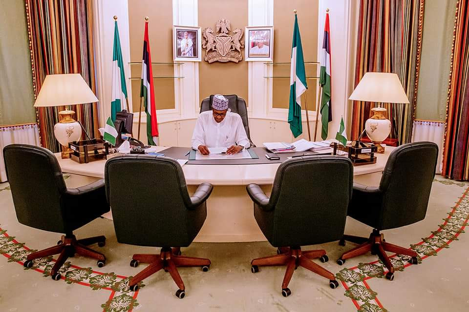 Photos: President Buhari resumes office after election break
