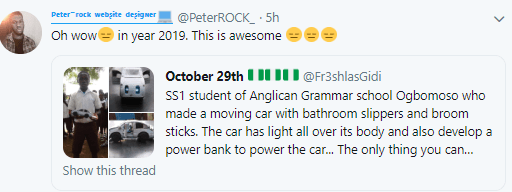Twitter users unimpressed after man tried to make a school boy go viral for manufacturing a moving car with bathroom slippers and power bank