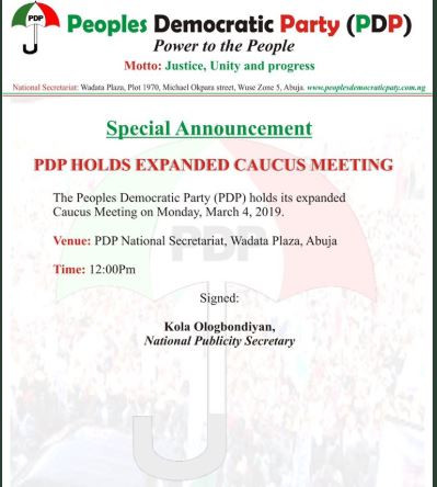 PDP to hold expanded?caucus meeting in Abuja today