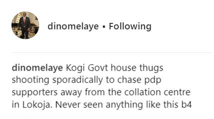 Senator Dino Melaye shares video of alleged government thugs shooting sporadically to chase PDP?supporters away from a collation center in Lokoja?