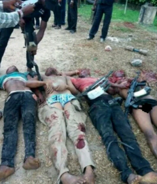 Photo: Police gun down four armed robbers days after they attacked NYSC lodge in Delta State