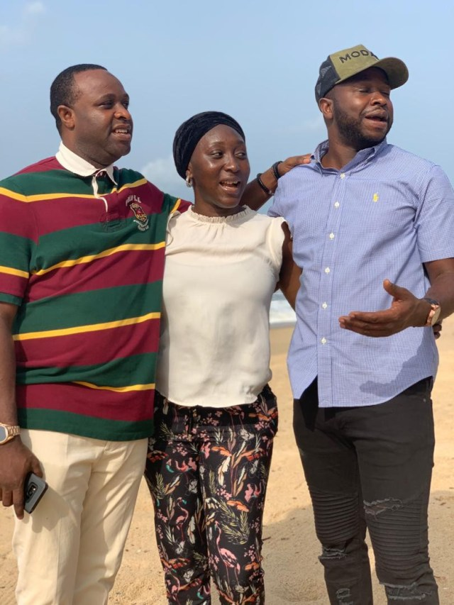 Photos: Veteran actor,?Adebayo Salami and his children spend time at the beach