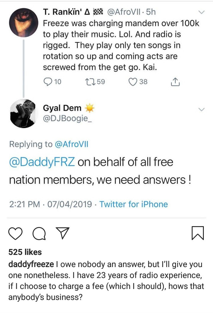 """If I choose to charge a fee, hows that anybody?s business?"" Freeze reacts to allegations he charges 100K to play artiste"