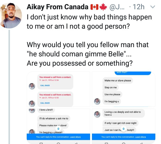 """Use me as your slave. Get me pregnant"" - Man shares messages another man sent to him"