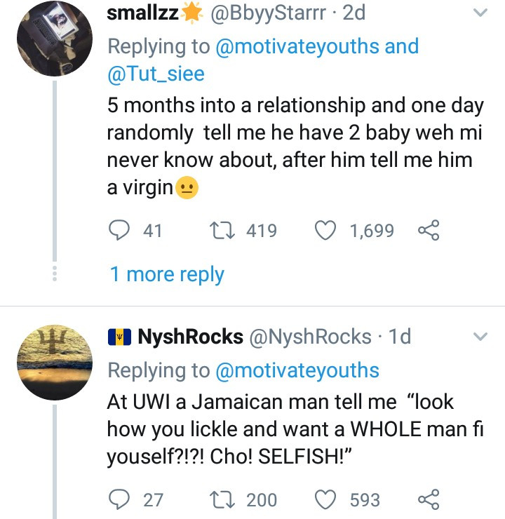 """""""Nigerian men are angels"""" - Social media users say as women share the savage things Jamaican men have done to them"""