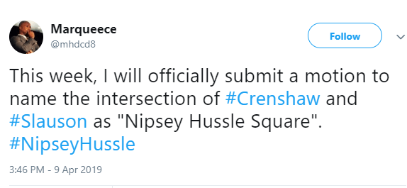"""Crenshaw and Slauson intersection will be named """"Nipsey Hussle Square"""" in honour of the slain rapper"""