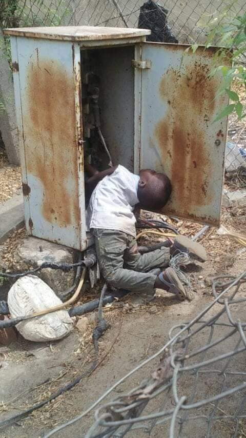 OMG! Little boy walks into an open transformer and gets electrocuted in Niger state (Graphic)