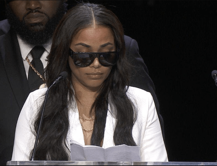 Actress Lauren London gives emotional tribute to her late partner Nipsey Hussle at his Memorial (Video)