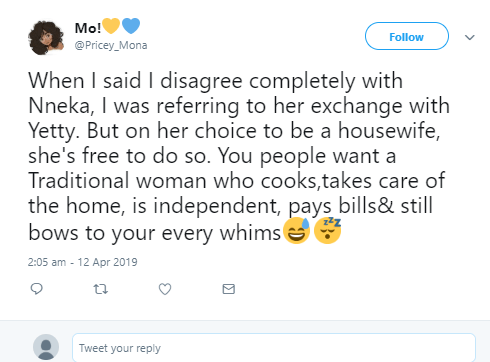 Outrage as Twitter user says she wants to be a housewife and enjoy her husband