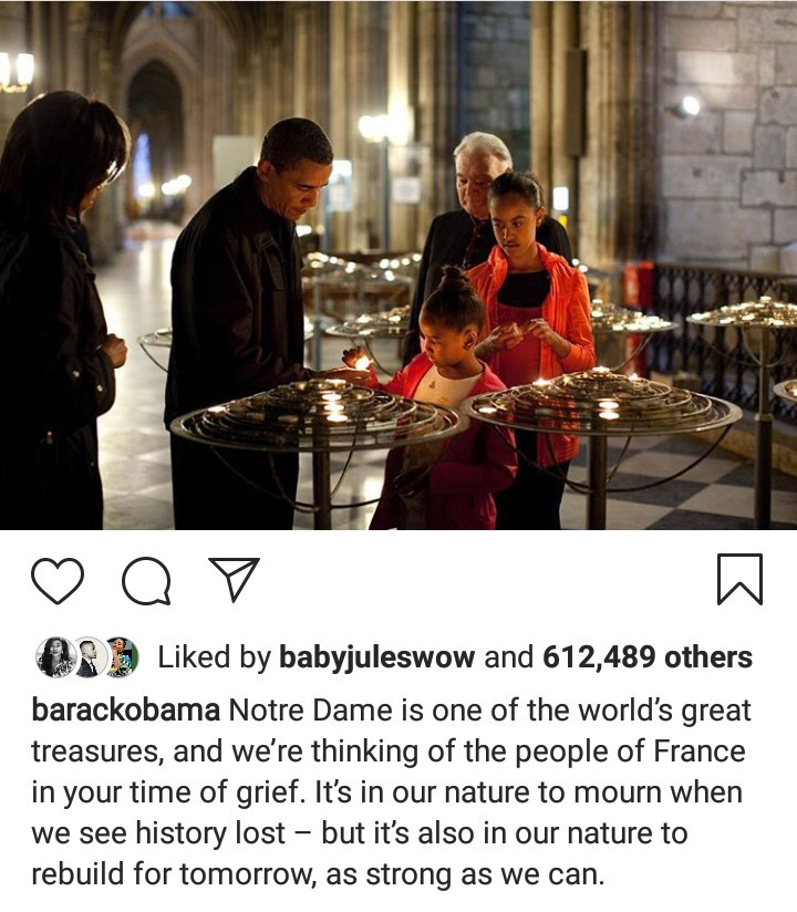 Barack Obama sympathizes with the people of France in the wake of the Notre Dame fire