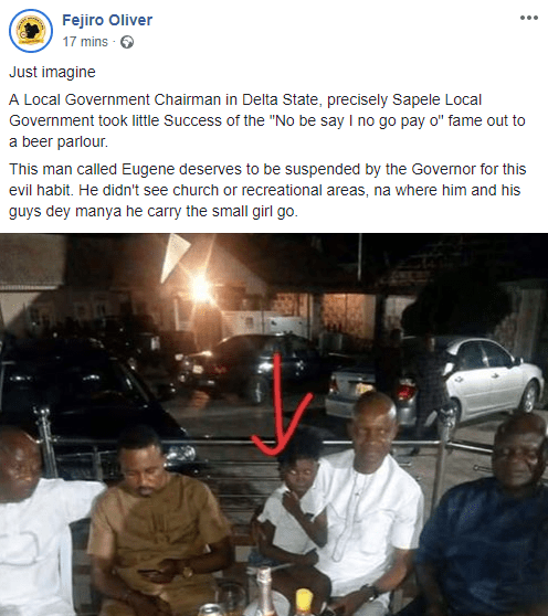 Journalist calls out Sapele local government chairman for taking little girl in viral school fees video, Success Adegor, to a