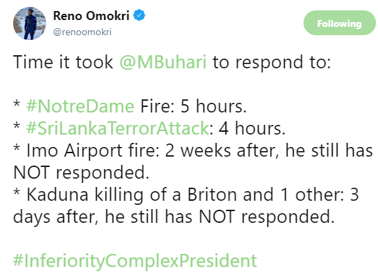 Reno Omokri trolls President Buhari on twitter, describes him as an